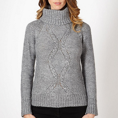 The Collection - Grey cable knit roll neck jumper