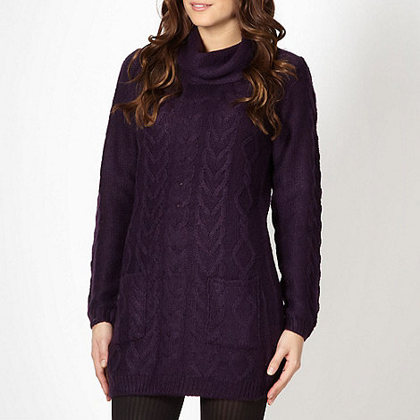 The Collection - Purple cable knitted cowl neck jumper