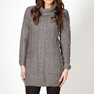 Grey cable knitted cowl neck jumper