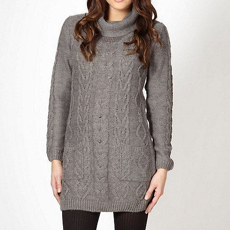 The Collection - Grey cable knitted cowl neck jumper