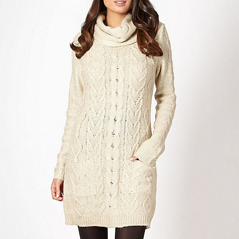 The Collection - Natural cowl neck knitted dress