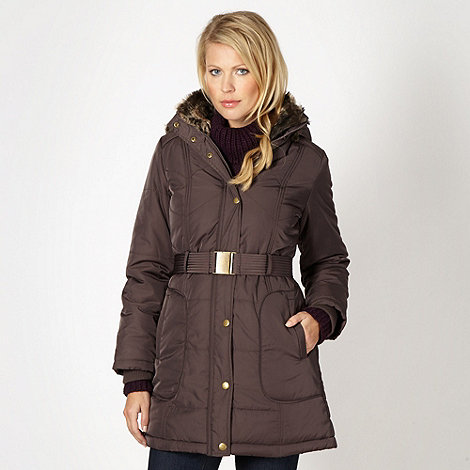 The Collection - Brown  faux fur lined parka