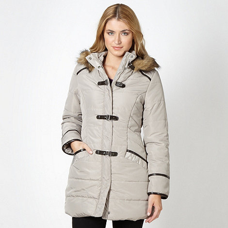 The Collection - Grey padded faux fur buckle parka jacket