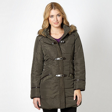 The Collection - Khaki padded faux fur buckle parka jacket