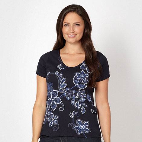 The Collection - Navy floral print V neck t-shirt