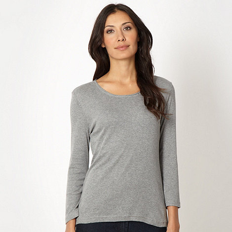 The Collection - Grey ribbed scoop neck top