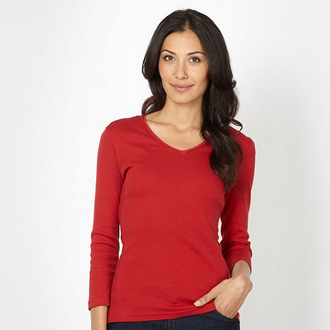 The Collection - Red rib trim V neck top