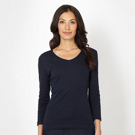 The Collection - Navy rib trim V neck top