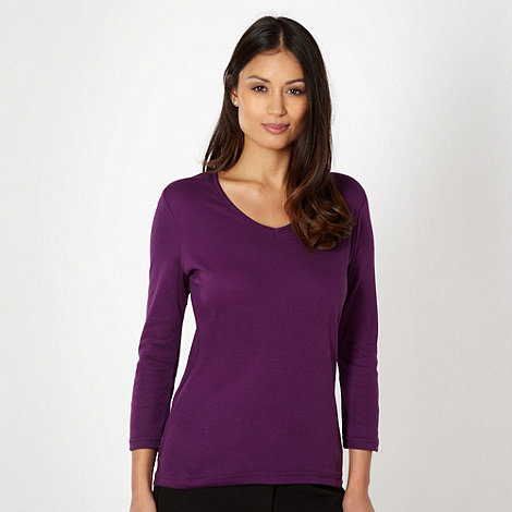 The Collection - Purple rib trim V neck t-shirt