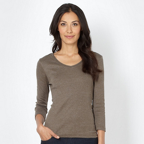 The Collection - Taupe plain V neck top