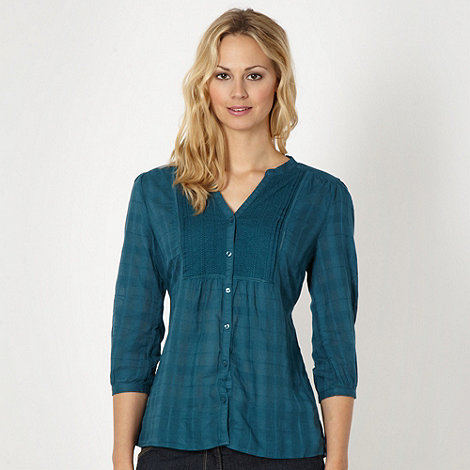 The Collection - Turquoise embroidered collarless shirt