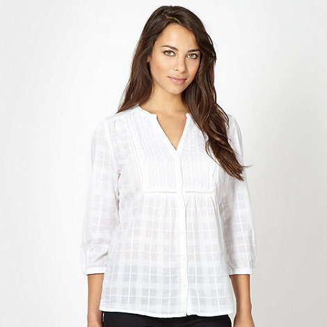 The Collection - White textured check three quarter sleeved shirt