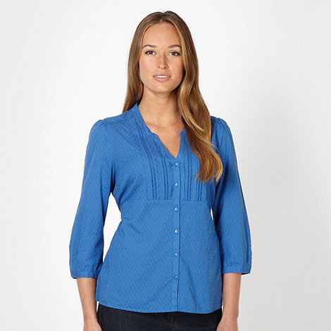 The Collection - Royal blue geometric woven blouse