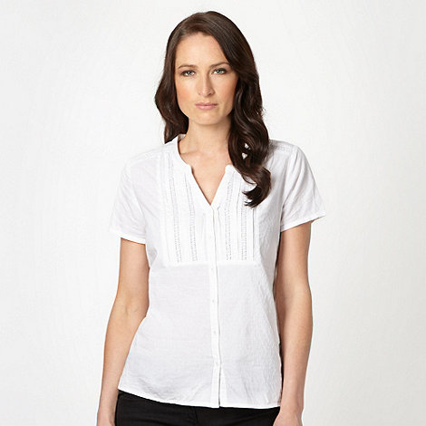The Collection - White geometric jacquard short sleeved top