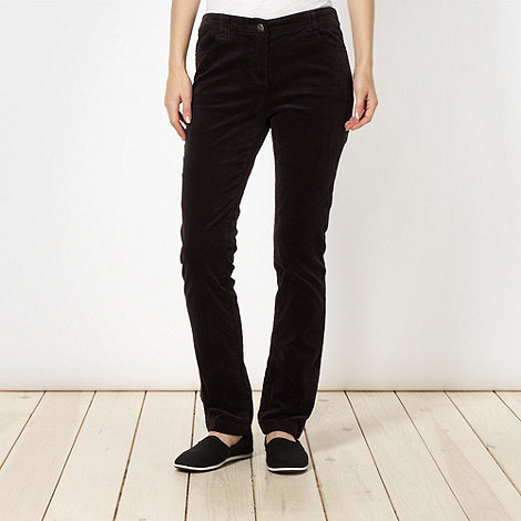 The Collection - Dark grey cord slim leg trousers
