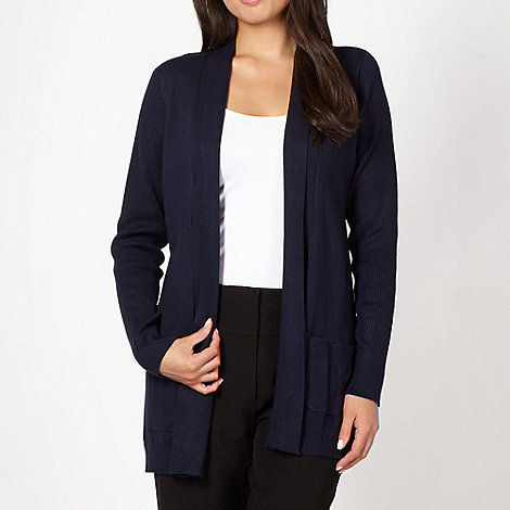 The Collection - Navy ribbed panel cardigan