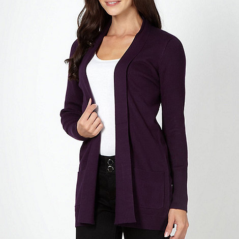 The Collection - Dark purple ribbed edge to edge shawl cardigan
