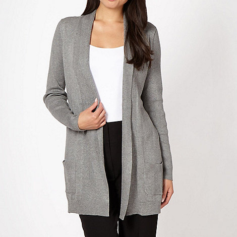 The Collection - Grey ribbed panel cardigan