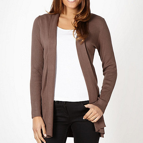 The Collection - Taupe ribbed panel cardigan