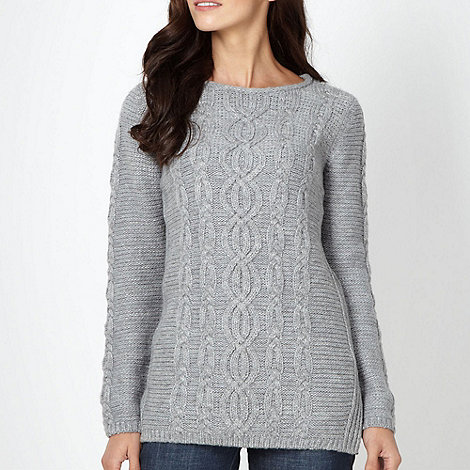 The Collection - Grey chunky cable knit jumper