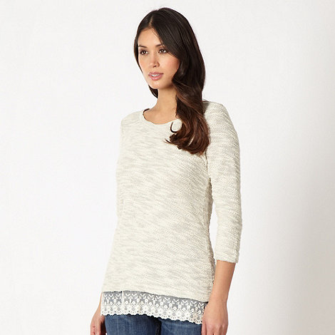 The Collection - Natural textured knit lace hem top
