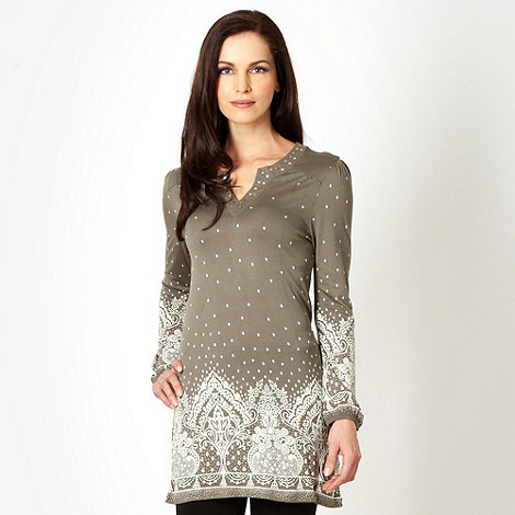 The Collection - Khaki floral border tunic