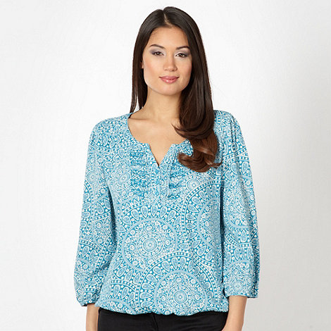 The Collection - Blue floral medallion top