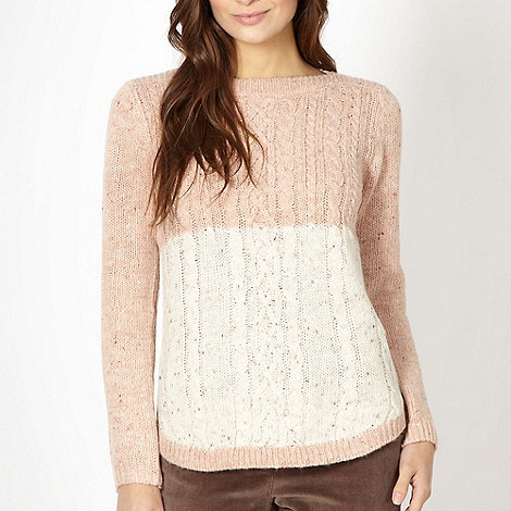 The Collection - Pink cable knitted colour block jumper
