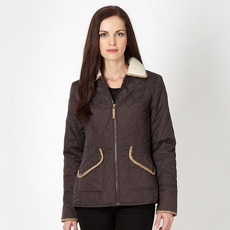 The Collection - Chocolate quilted borg collar jacket