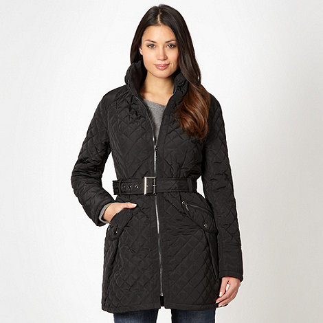 The Collection - Black quilted belted coat