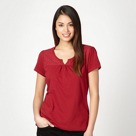 The Collection - Dark red daisy broderie top