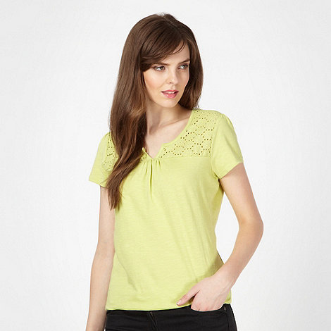 The Collection - Lime daisy broderie top
