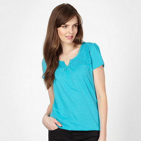 The Collection - Turquoise blue daisy broderie top