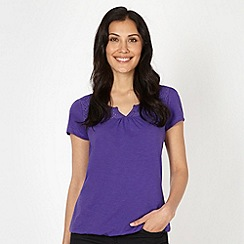 The Collection - Dark purple daisy broderie top