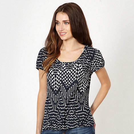 The Collection - Navy graphic zig zag print t-shirt