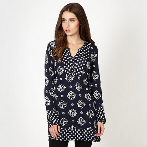 The Collection - Navy bali tie print tunic
