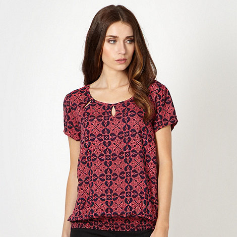 The Collection - Bright pink temple tile print top