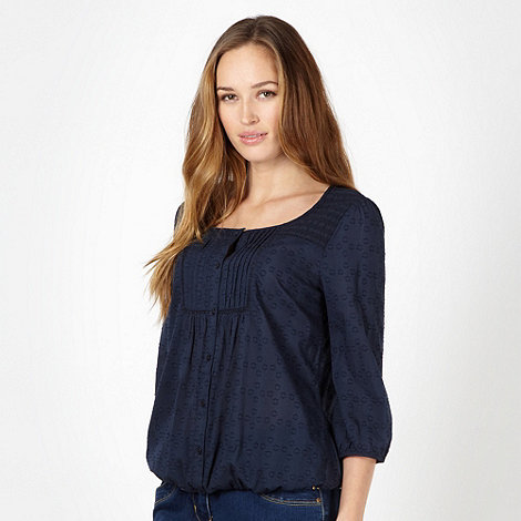 The Collection - Navy textured circle woven top