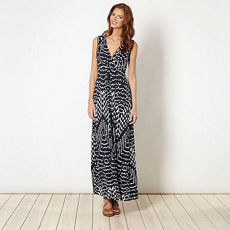 The Collection - Navy geometric pattern jersey maxi dress
