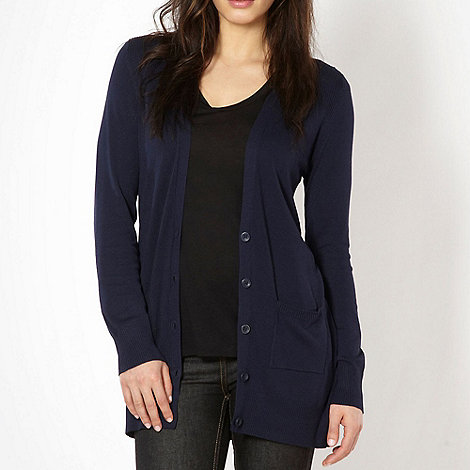 The Collection - Navy ribbed detail cardigan