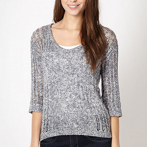 The Collection - Blue 2 in 1 open knit jumper