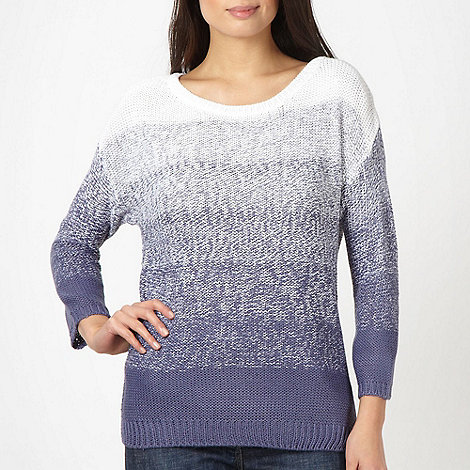 The Collection - Blue graduated knitted jumper