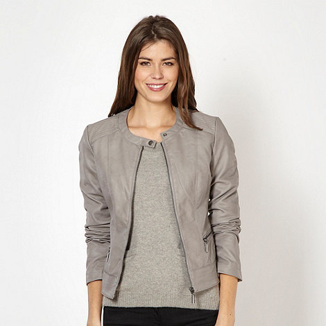 The Collection - Grey collarless faux leather jacket