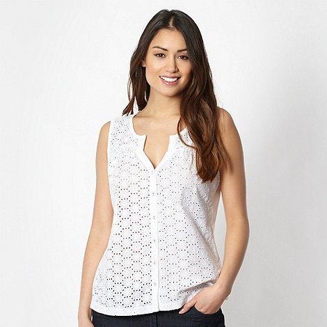 The Collection - White broderie daisy vest