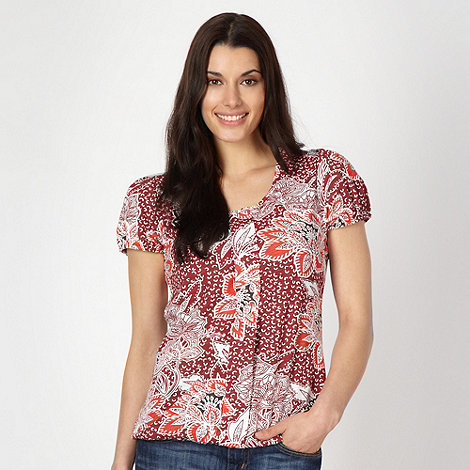 The Collection - Dark red Persian rose print bubble hem top
