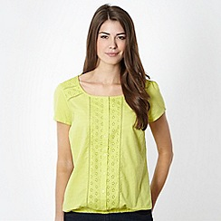 The Collection - Lime broderie panel bubble hem top