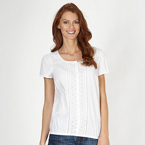 The Collection - Designer white broderie panel bubble hem top