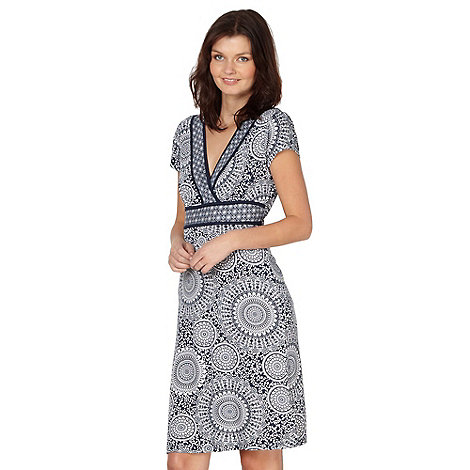 The Collection - Navy spot flower and leaf jersey dress