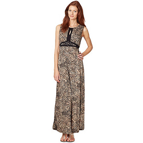 The Collection - Taupe embellished tiled maxi dress