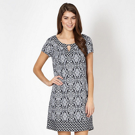 The Collection - Navy baroque tiled shift dress